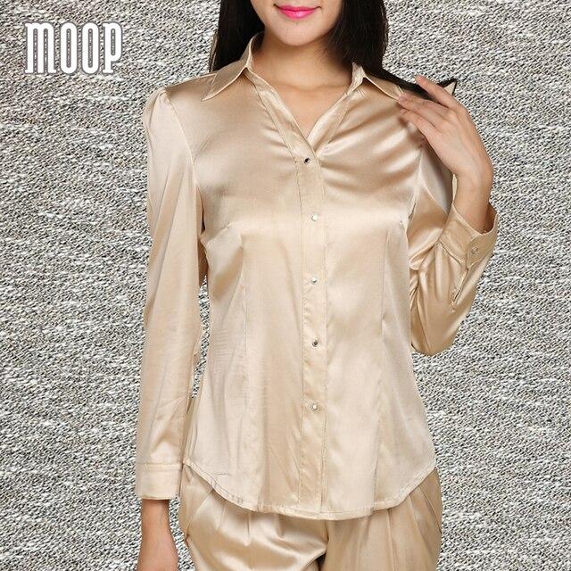 42ce65fc5e5677 Women champagne tops office style long sleeve blouse natural silk business  shirts camiseta blusas haut femme LT1500 FREE SHIP
