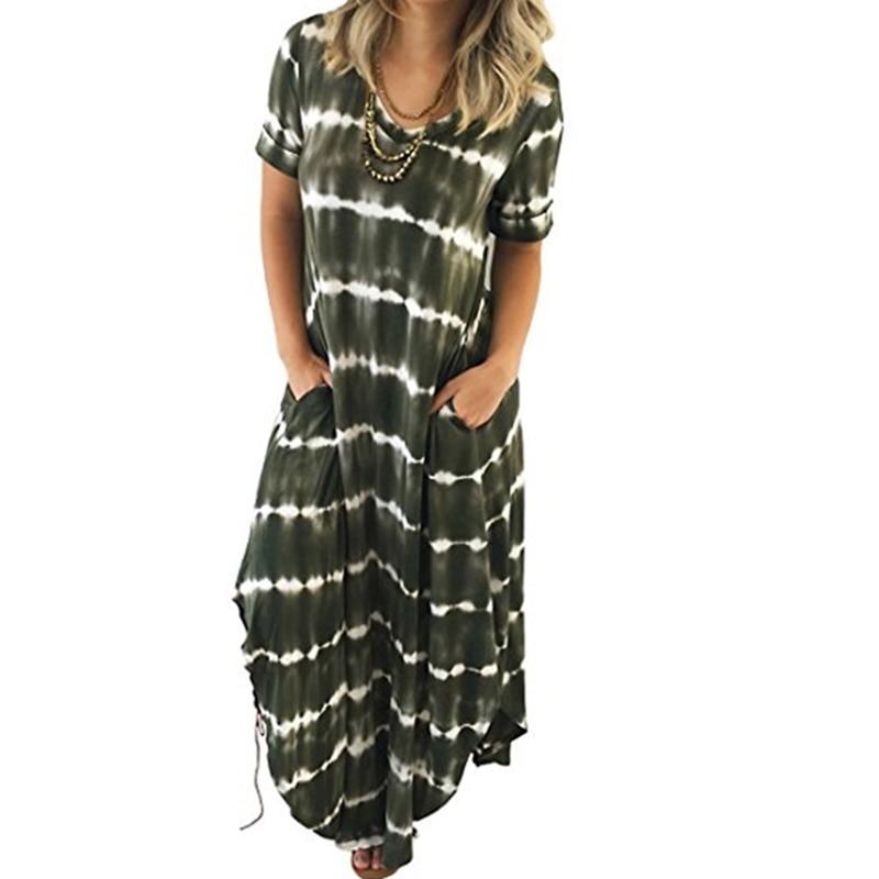 44e9bd41440f0 Striped Women Long Beach Dress Summer Short Sleeve Casual Loose Tunic  Dresses BOHO Robe Longue Femme 2018 Vestidos WS6221U