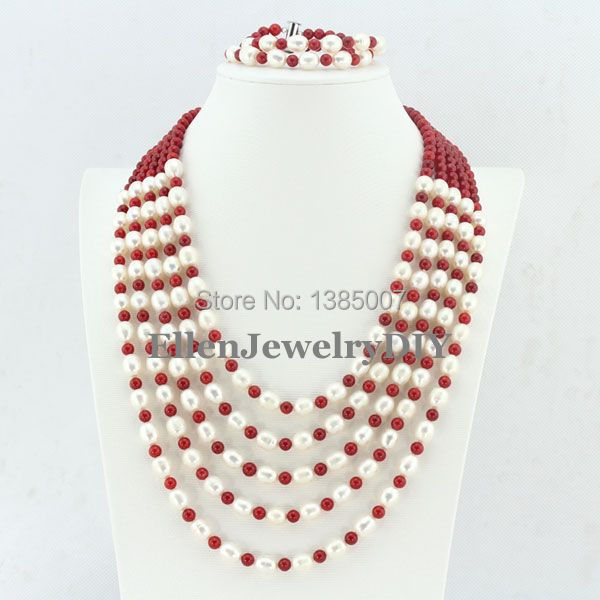 Fetching 6 Rows Freshwater Pearl Jewelry Set Pearl Necklace Wedding Gift Red Coral Necklace Wedding Gift Bridesmaid NecklaceFetching 6 Rows Freshwater Pearl Jewelry Set Pearl Necklace Wedding Gift Red Coral Necklace Wedding Gift Bridesmaid Necklace