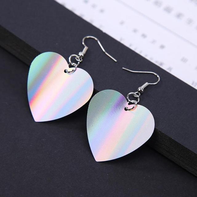 Hợp thời trang Sequin Trái Tim Lớn Dangle Earrings đối với Phụ Nữ Yêu Trang Sức Chic Bạc Màu Earing Dài Tình Yêu Đồ Trang Sức