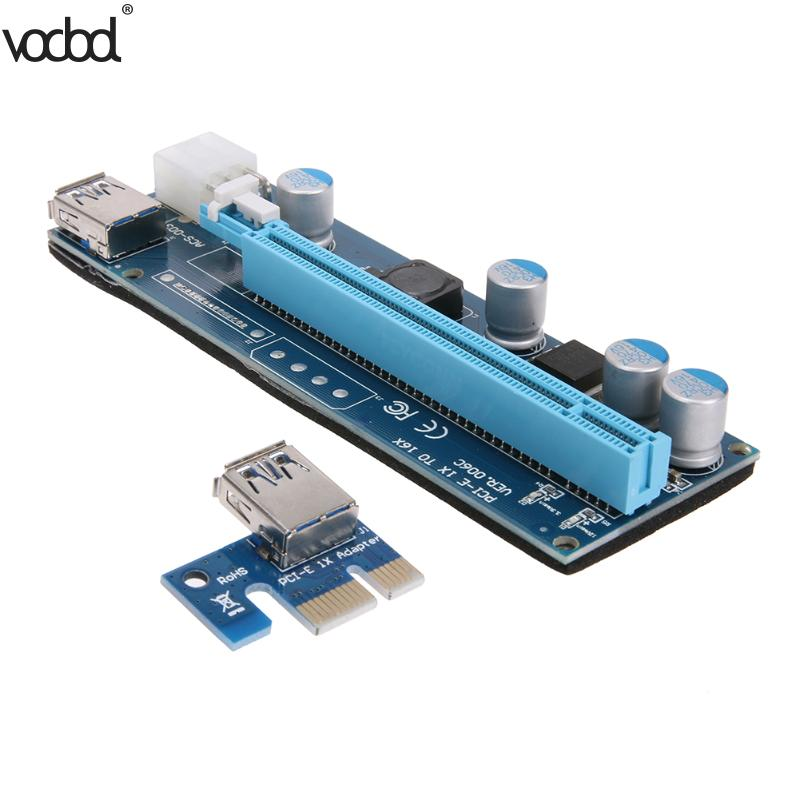 Fine Pci-e Express Riser Card Pci 1x To 16x Extender Riser Card 6pin Cable With Led Light For Bitcoin Miner Btc Graphics Card Modern And Elegant In Fashion Computer Cables & Connectors