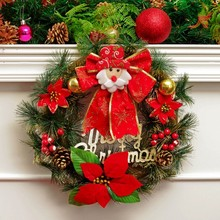 1Pcs Christmas Wreath Pine Needles Band Merry Christmas Garland Balls With Flowers Door Wall Hangings Nice Gift Xmas Wreath