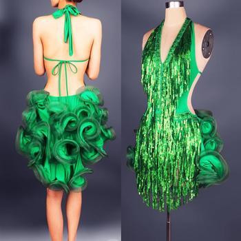 Latin Dance Dress Tassels Green Professional Costume for Women Fringe Samba Costume Colorful Womens Ballroom Competition Dresses