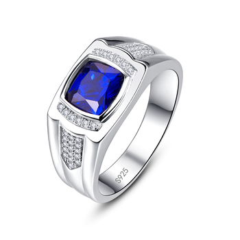 JUQEEN Vintage Sapphire Stone White CZ Rings Pure S925 Silver Men's Ring Engagement Wedding Male Fine Jewelry 8/9/10/11/12/13 1