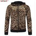 GustOmerD 2016 Nova Marca de Moda dos homens Hoodies Homens Treino Jaqueta Dos Homens de Alta Qualidade Slim Fit Sexy Leopardo Camisola M-2XL
