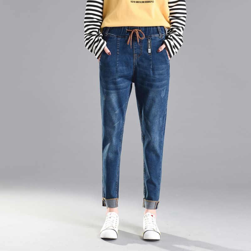 Đặc Biệt Mới Thiết Kế Thun Bạn Trai Nữ Quần Lửng Jeans Nữ Plus Kích Thước Rời Quần Jean Lưng Cao Co Giãn Denim Quần Harem Femme
