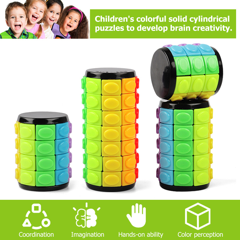 New 3d Rotate Slide Babylon Tower Stress Cube Puzzle Toy Cube Kids Adult Color Cylinder Sliding Puzzle Sensory Toy(China)