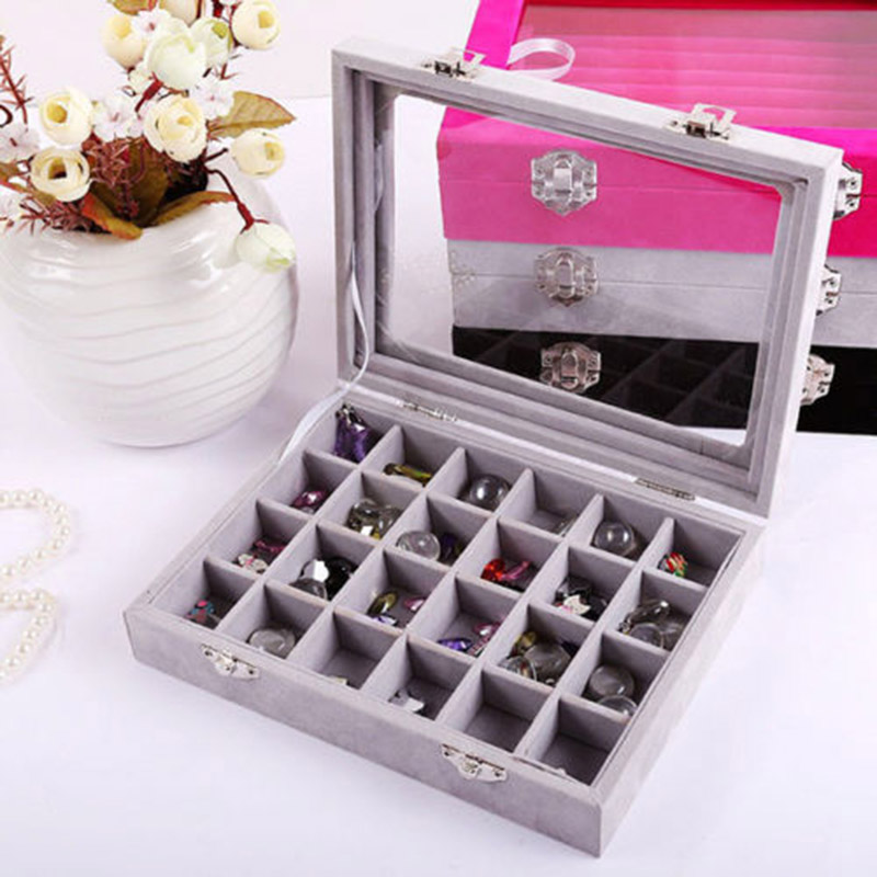 24cells Velvet Glass Jewelry Box Earring Ring Display Organizer