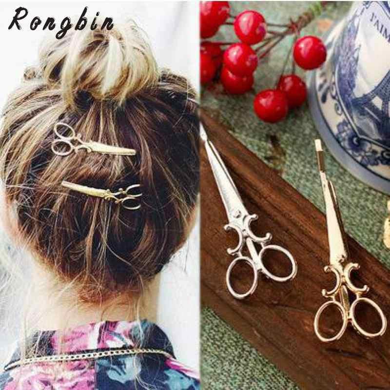 2019 Hot spinki do włosów moda Trendy piękny złoty srebrny metalowe nożyczki spinki do włosów dla kobiet biżuteria akcesoria pinzas de pelo