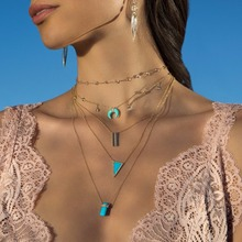 New Arrival Rose Gold Silver Color Blue Turquoises Howlite Blue Stone Crescent moon Horn trendy Necklace For Woman Boho Jewelry