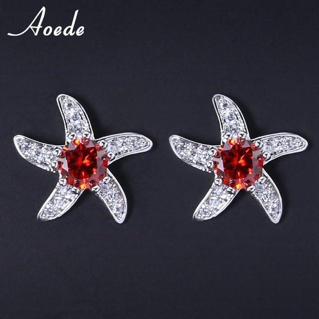 9 Colors Starfish Earrings Studs Austria Crystal Gold Colored Rhinestone Ear Women Lady