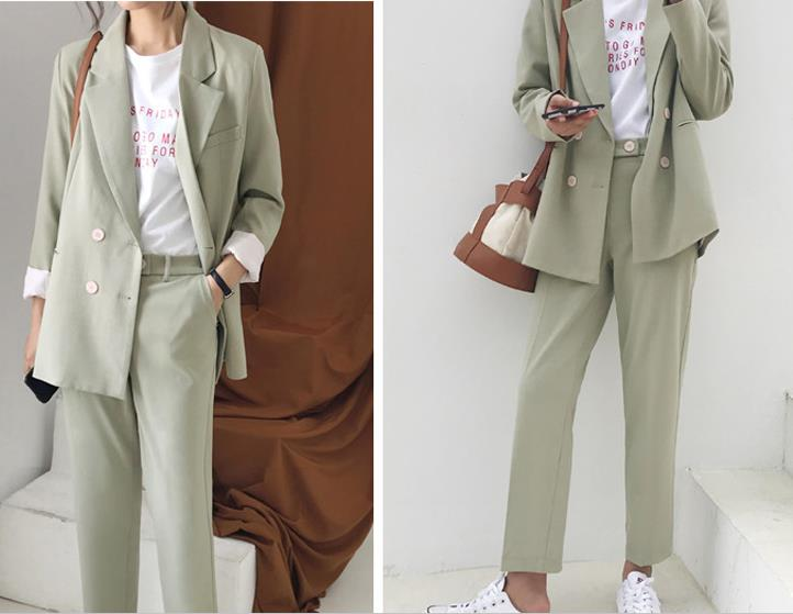 Vintage Double Breasted Women Pant Suit Light Green Notched Blazer Jacket & High Waist Pant 2019 Spring Office Wear Women Suits модный женский жакет 2019