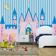 Custom 3d Wallpaper Cute Castle Oil Painting Childrens Room Wall - Silk Waterproof Material