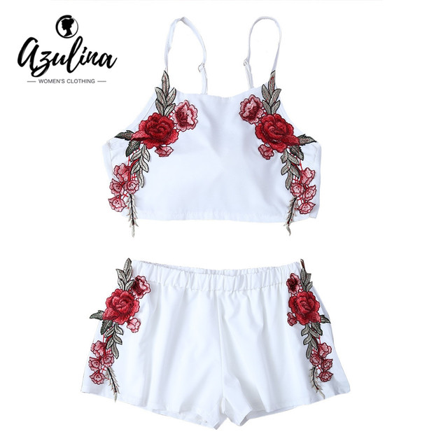4c51092479d AZULINA Summer Casual Two piece Floral Embroidery White Twinset Crop Top Bowknot  Hot Pants Shorts Women