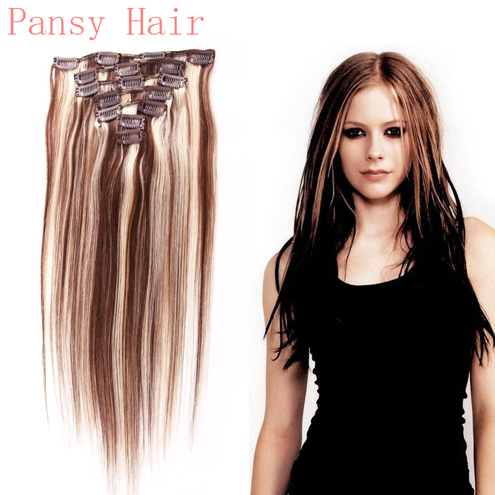 Remy Human Virgin Hair Straight Hairpieces Wigs Clip in Human Hair Extensions Full Head 15inch 18inch 20inch 22in 4#/613# Color