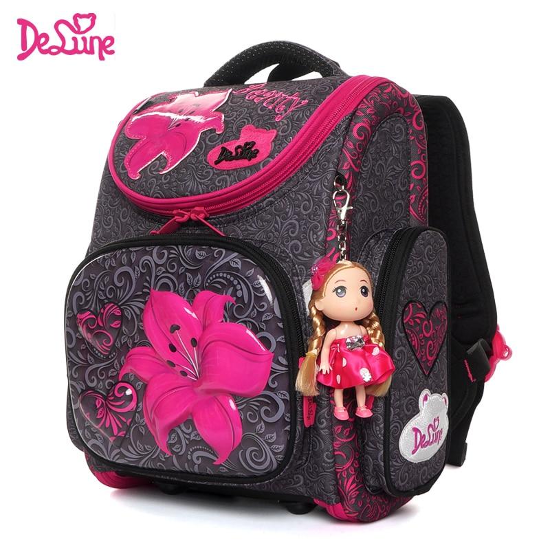 Delune Cartoon School Bags Backpack For Girls Boys 7 Years Bookbag Flower Pattern Children Orthopedic Backpack Mochila Infantil