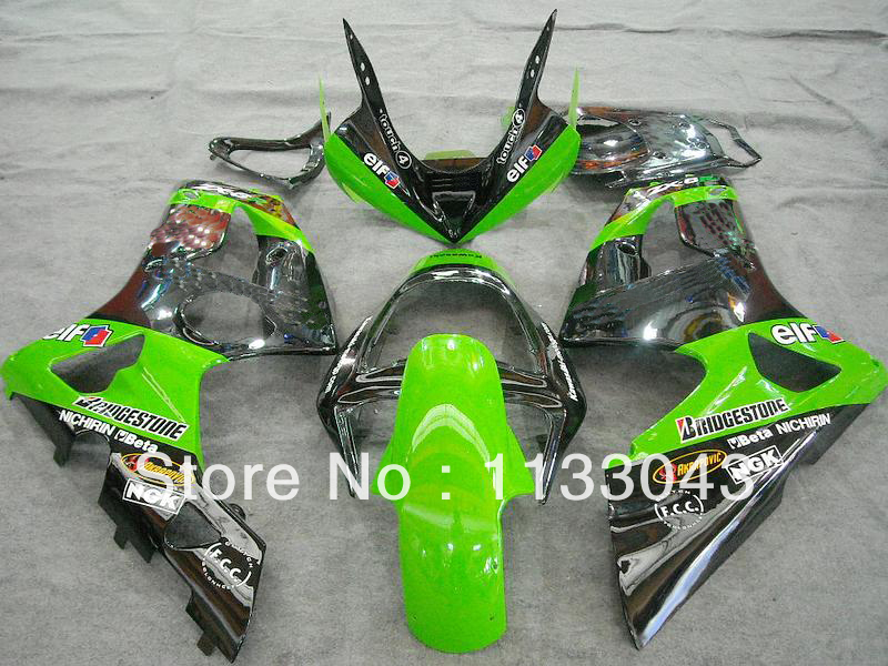Injection mold Green Black fairing kit FOR KAWASAKI NINJA ZX 6R <font><b>636</b></font> 03 04 ZX-6R 03-04 ZX6R <font><b>2003</b></font> 2004 ZX 6R 03 04 fairings Freecu image