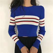 цена на New Autumn Women Striped Sweater O-Neck Cropped Sweater Pullover Crop Top For Female DX9795