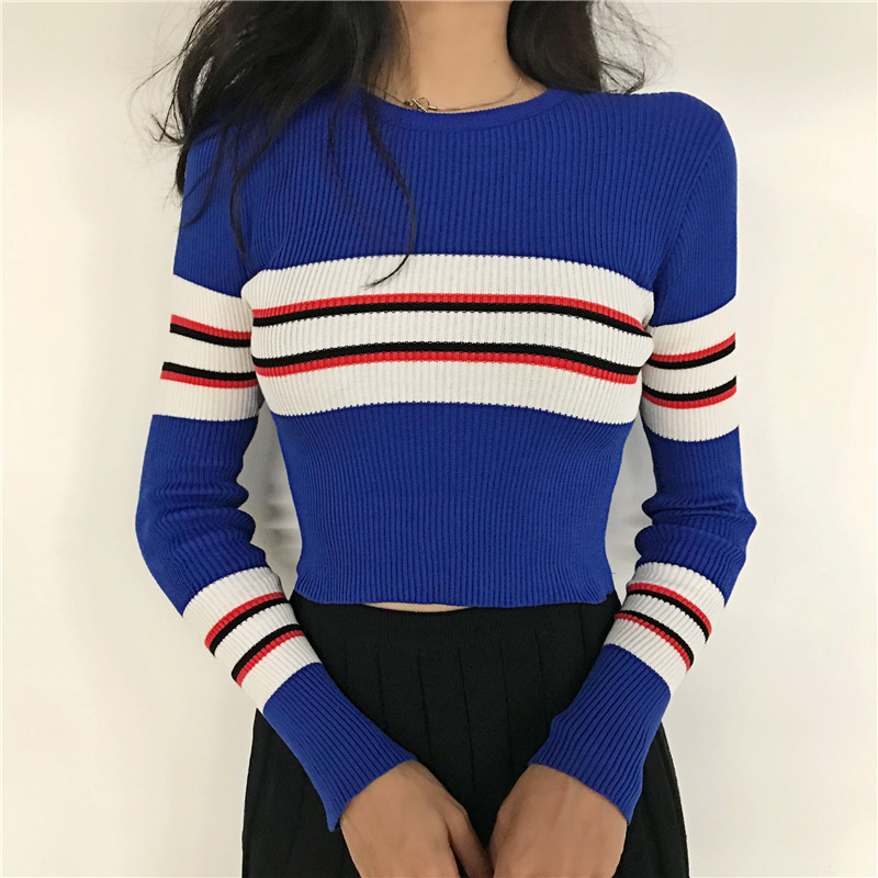 New Autumn Women Striped Sweater O-Neck Cropped Sweater Pullover Crop Top For Female