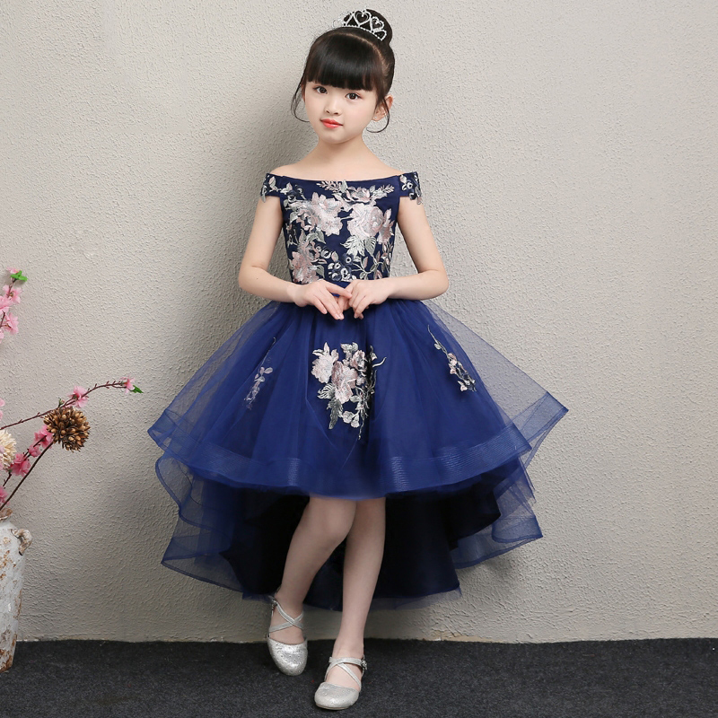 Royal Blue Shouderless Flower Girl Dresses Wedding Embroidery Ball Gown Kids Pageant Dress Birthday Costume Princess Party Gowns girl