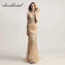 Luxury Beading Mermaid Evening Dresses Plus Size Tulle Crystal Illusion Zipper Back Formal Prom Party Gowns in Stock OL468
