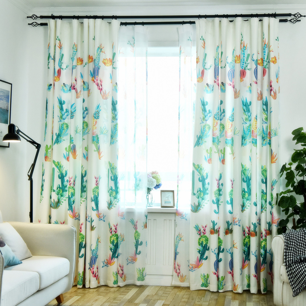 US $5.1 31% OFF|Living Room Semi Blackout Cactus Curtain Modern European  Decor Kitchen Windows Plants Printed Bedroom Curtains Panels wp212&30-in ...