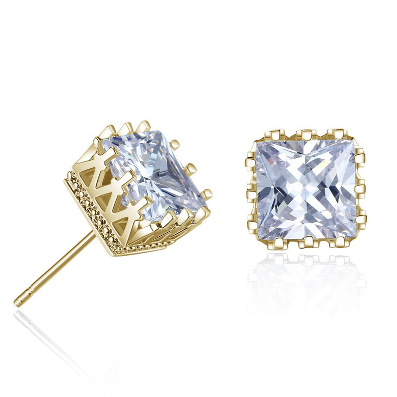 Gold Silver Color Men Zircon Crystal Square Stud Earrings Hollow Out Crown Men Cheap Earrings for Male Boy Cool Jewelry