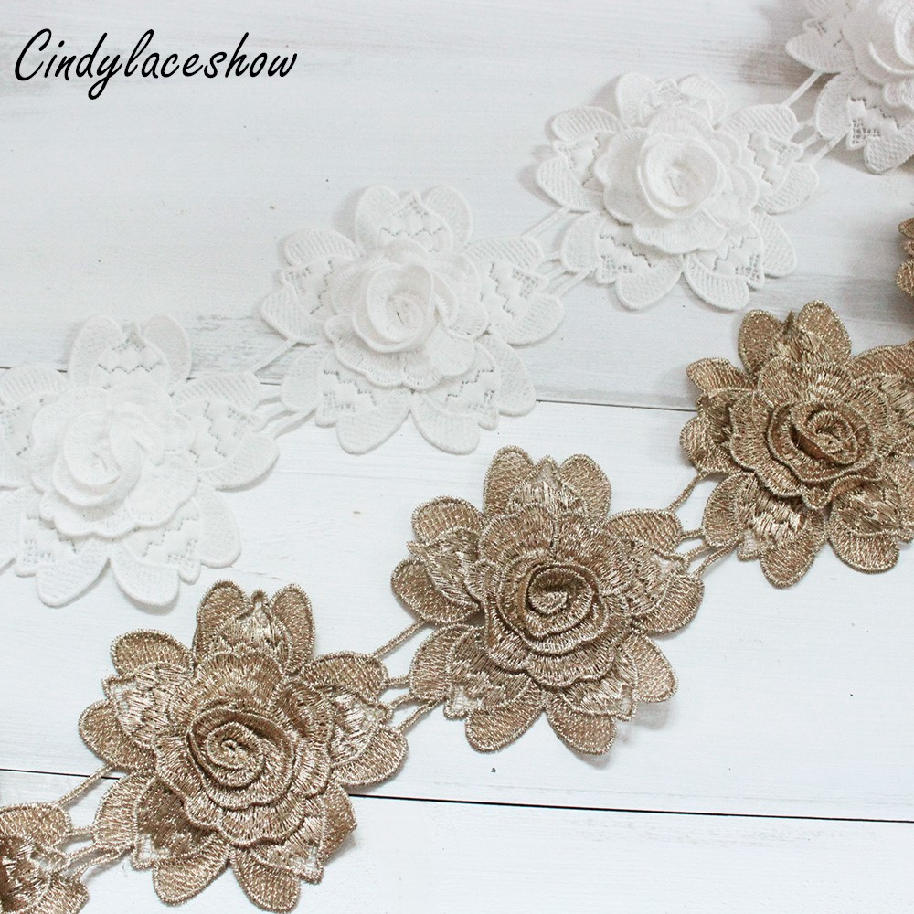 9PCS Flowers White Gold Lace Trim Ribbon Water Soluble