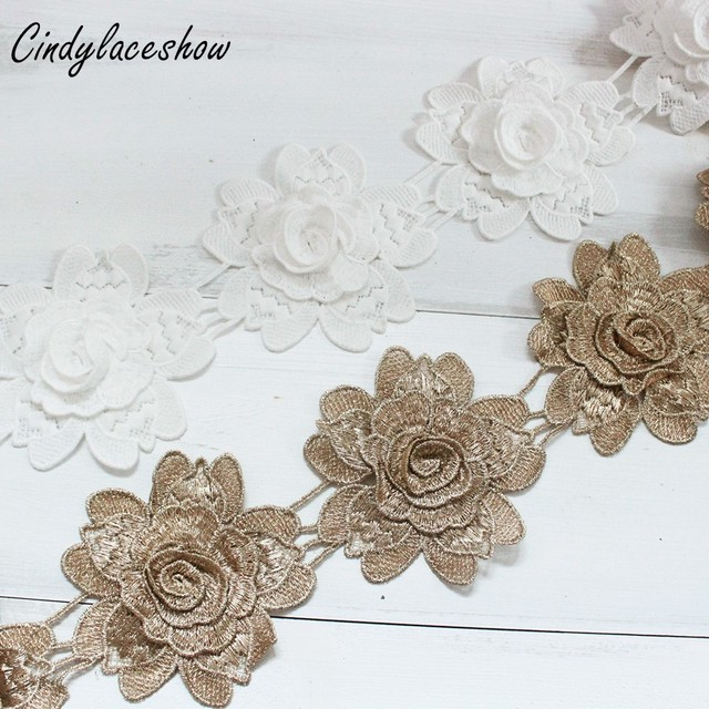 9pcs Flowers White Gold Lace Trim Ribbon Water Soluble Embroidered