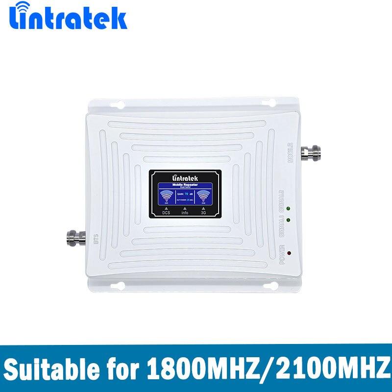 Lintratek DCS Sinal de Reforço Dual Band 4G LTE 1800 MHz + 3G WCDMA UMTS 2100 MHz Sinal de Celular Amplificador repetidor com Display LCD
