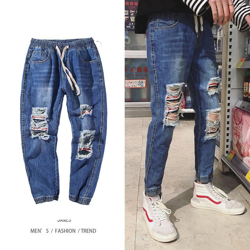 2018 Men Fashion Trend Casual Blue Holes Cowboy Ankle-length Pants Stretch Slim Fit Jeans Homme Denim Trousers Plus Size M-2XL