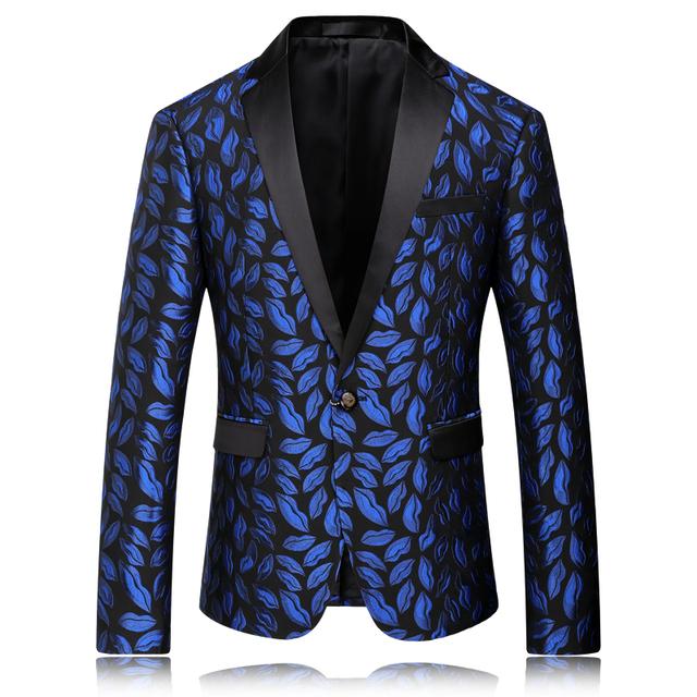 Blazer Men 2016 Royal Blue Mens Slim Fit Blazer Wedding Blazers For Men Stage Jacket Party Wear One Button Male Floral Suit Q56