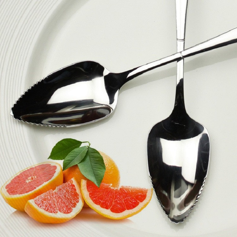 17CM Fruit Grapefruit Spoon Long Handle Stainless Steel Spoons Kitchen Gadgets C