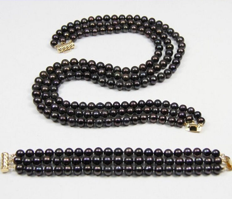 FREE shipping 3 ROW 8-9mm AAA Black tahitian Pearl Necklace Bracelet Set 18-20 7.5.8 r a()