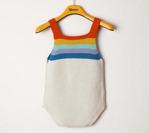 Детский комбинезон для новорожденных, одежда для маленьких мальчиков и девочек, летние вязаные детские комбинезоны с радугой для маленьких мальчиков