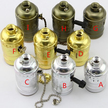 4 unids/lote latón/oro/plata/Negro Vintage E27 de aluminio de interruptor de la cremallera titular de la lámpara hembra se aplican en Edison bombilla DIY luz colgante