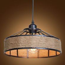 Vintage Industrial Pendant Light Metal  Hemp Rope Caged Lightings Kitchen Island Hanging Fixture Antique Lamp