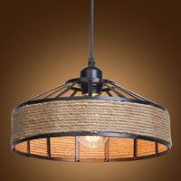 Vintage Industrial Pendant Light,Metal and Hemp Rope Caged Chandelier,Kitchen Island Hanging Light Fixture Antique Ceiling Lamp