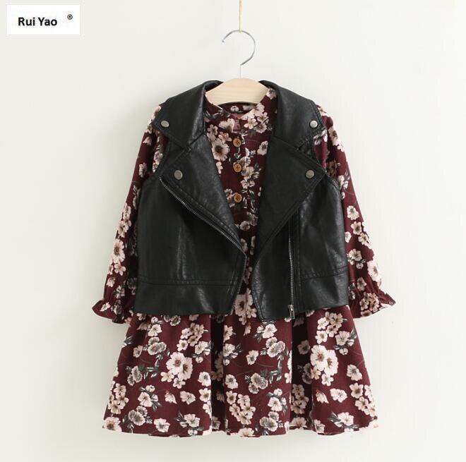 YB95756 2017 Fashion Baby Girls Dress Floral With Faux Leather Vest Full Sleeve Girl Dress Girl Princess Dress Girls Clothes аккумулятор yoobao yb 6014 10400mah green