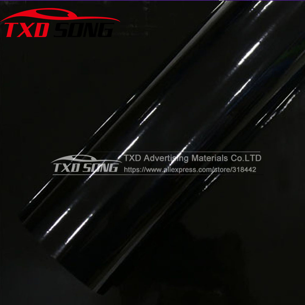 3 Layers Glossy Vinyl Film High Gloss Vinyl Black Glossy Car Body Wrap Film With Air Drain 1.52*5M/10m/15m/20m for choice