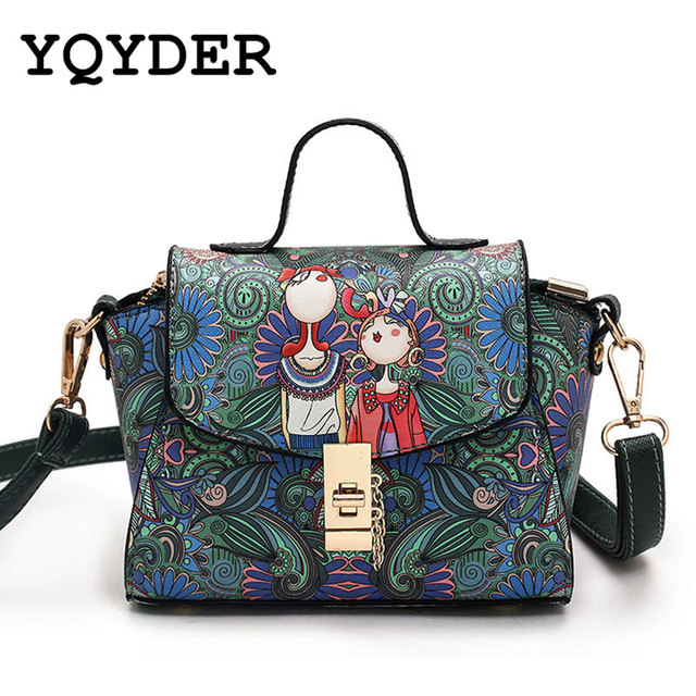 5acd4f54b46e YQYDER 2017 NEW Women MINI Bag Forest Green Trapeze Bag Designer Leather  Fashion Messenger Bags Ladies Single Shoulder Bag Sac