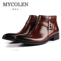 MYCOLEN Autunm Winter New Mens Genuine Leather Boots Fashion Buckle Pointed Toe High Top Businsess Dress