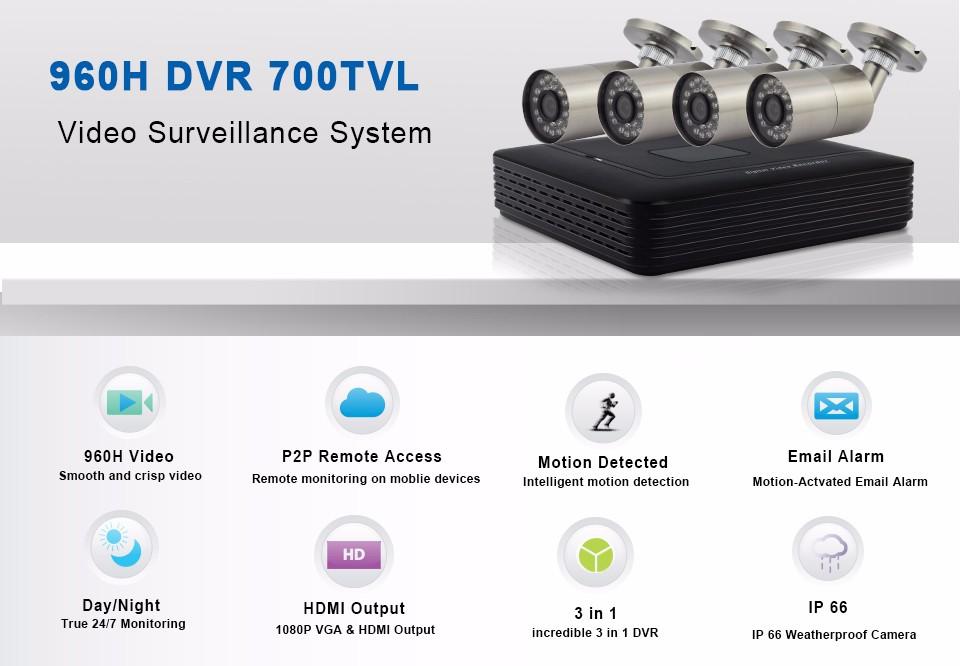 1-700TVL Analog System Kits 8CH 60-C