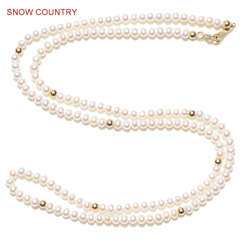 SNOW COUNTRY Choker Necklace Tiny Size 2.5-3mm Near Round White Natural Real Freshwater Pearl 18K Solid Gold Gift for Girlfriend yoursfs heart necklace for mother s day with round austria crystal gift 18k white gold plated