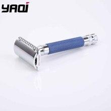 Yaqi maquinilla de afeitar de seguridad, mango pesado de latón, Color azul