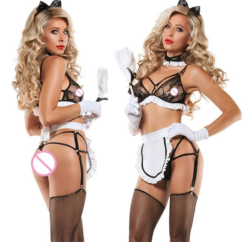 Sexy Lingerie Maid Uniform Hot Lace Transparent Servant Girl Maid Sex Costumes Temptation Sexy Underwear Outfit Erotic Lingerie
