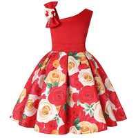 Платье для девочек, Рождественский костюм принцессы, платье для снежной погоды, детская одежда, Infantil, платье в полоску с цветами для девочек
