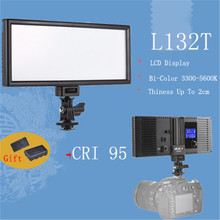 Viltrox L132T LCD Display Bi-Color & Dimmable Slim DSLR LED Video Light&Battery&Charger for Canon Nikon Camera DV Camcorder