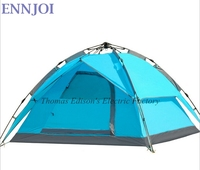 3 4 Person Camping Tent Double Layers Fully Automatic Open Up Tents 210D PU Waterproof Windproof Hiking Picnic Tents