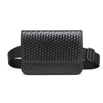 Das Mulheres dos homens Sacos de Cintura Da Moda Tecer Cinto Pochete Sacos Casual Mini Telefone Bolsa Hip Bum Bag para Feminino Masculino celula